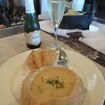 Soup in sour dough bread crust with Prosecco