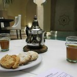 As we arrived, mint tea and biscuits were served