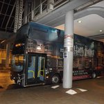harry potter bus at the waiting point