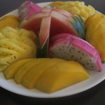 welcoming plate of fresh fruit