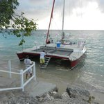Our wedding day catamaran pulling up