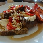 French toast with ricotta, strawberries and maple syrup