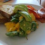 Scrambled eggs, bacon and avocado