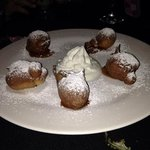 apple zeppoles with caramel sauce...hot and delicious
