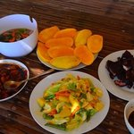 adobo, bbq pork, sinigang, fresh mangoes