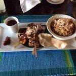 lamb,chicken, prawn skewers