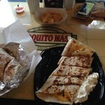 Burrito and chicken/steak quesadilla