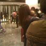 The queue for checking out in the lobby.