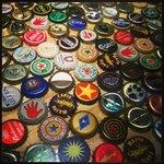 Bottle caps decorating the bar!