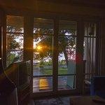 Вид на море и закат из окна столовой.