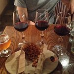 Wine flight, 12 oz beer on tap and some beer nuts!