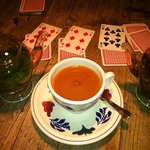 fresh mint tea and game of cards supplied by bar