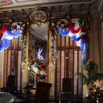 """Parlor decorated in """"U.S.A."""" theme, Christmas '13"""