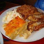 fried fish peas & rice mac and cheese