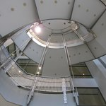 Looking up from the main entrance lobby.