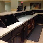 Abandoned and gutted front desk
