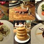 dinner: bruschetta, salad, trout, peanut butter-chocolate dessert