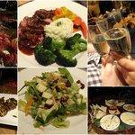 NYE dinner: stuffed mushrooms, cheese platter, salad, beef tenderloin, assortment of desserts