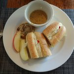 lunch: sandwich, homemade cookies, soup