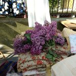 Beautiful linens and lilacs, too!