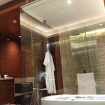 Bathroom with movable curtains
