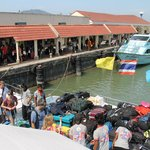 View of people boarding Ferry departing from Rassada Pier to Phi Phi (Andaman Wavemaster)