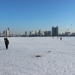 Walking across the frozen river….only about 300m