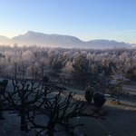 View from balcony of Untersberg and mountains surrounding Salzburg