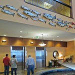 Elevator fish art