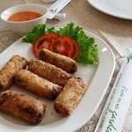 yummy spring roll in vegetarian set lunch