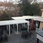 dining patio below rooms on the east side