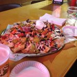 Large nachos- come on a large pizza platter!