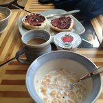 Breakfast selections- homemade jam and all locally sourced food!