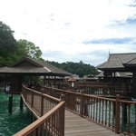 Wooden Walkway that links Sea Villas and Spa to centre of resort