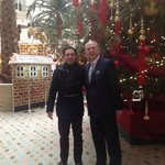 my son & the manager Mr Andrew Batchelor in front of the impressive Christmas tree in the courty