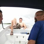 Relaxing on our private boat tour of Sian Ka'an.