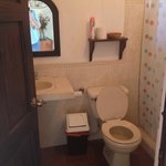 Clean and well-kept bathroom with shower.  There are two full bathrooms upstairs.