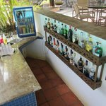 Well-stocked serve yourself pool bar!
