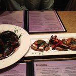 L: Mussels with spicy marinara; R: Bruschetta (mozz/tomato/pesto and portabella/red pepper basil