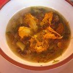 Squash Blossom soup made during Karla Maria's class