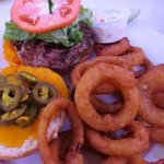 Juicy burger, crispy rings