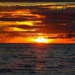 Sunset from Secrets Aura Cozumel - our romantic dinner on the beach