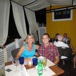 My son and I on the patio at La Farola