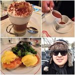Cappucino, Hot Chocolate, Eggs Benedict w/ Smoked Salmon