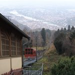 station at the top and view of Heidelberg