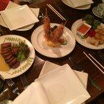 From Left to Right: Fresh Ahi Katsu, Kataifi & Macadamia Black Tiger Prawns, Vegetarian Spring R