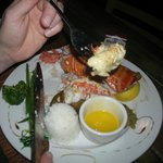 lobster, 5 green beans, 3 broccoli, scoop of rice, ordered another lobster tail,charge 40$ half