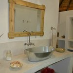 vanity slab in bathroom area of rondavel