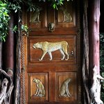 The hand carved door of our room.