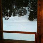 Unser Balkon mit Sicht auf der Piste!